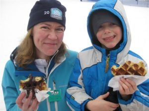 Sonia and Tevor opted for the chocolate dipped waffles.  Yum!