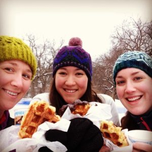 Members stop for a waffle on the trail at the Loppet Foundation's Waffle Loppet.