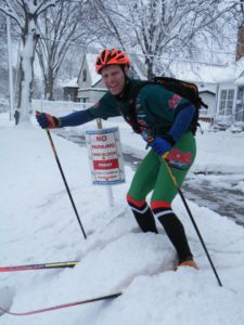 Dan Luoma skied over 8 miles on his trek from North Minneapolis to Roseville.