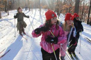 ski camp girls in hats