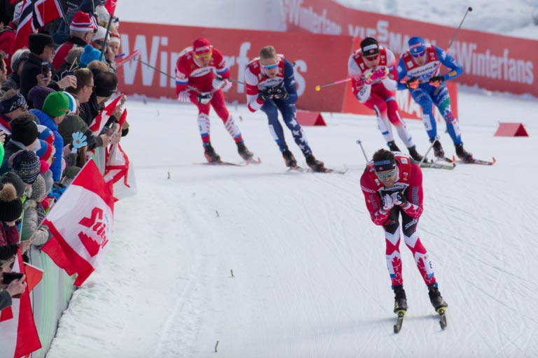 World Cup Cross Country Ski Sprint Race and Spectators